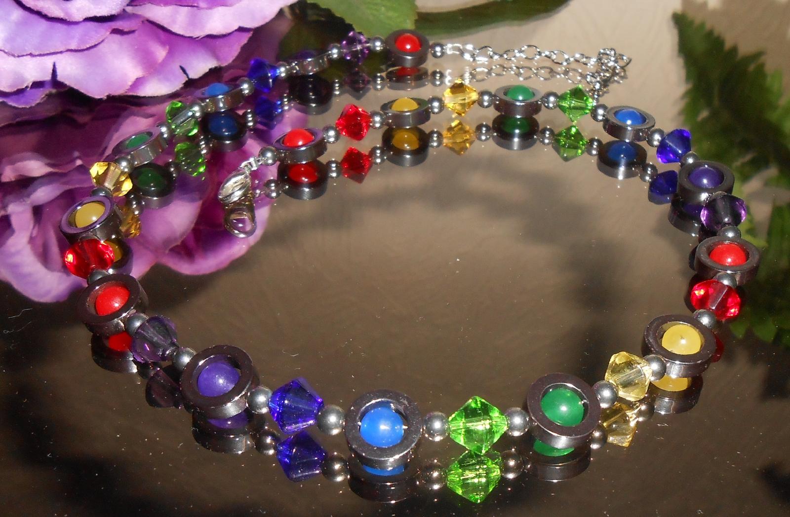 6er Schmuckset Halskette Armband Ohrringe 4 x multicolor mehrfarbig bunt 243a